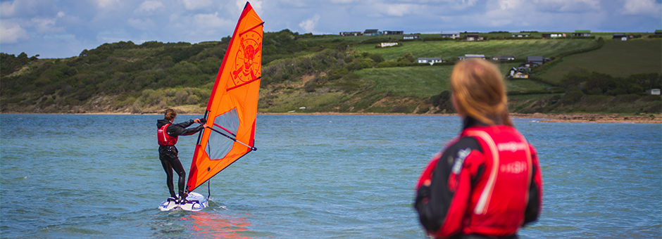 Windsurfer instructor training in action at Cowes