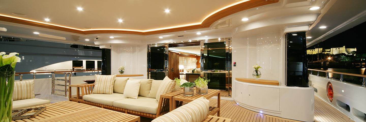The interior of a superyacht