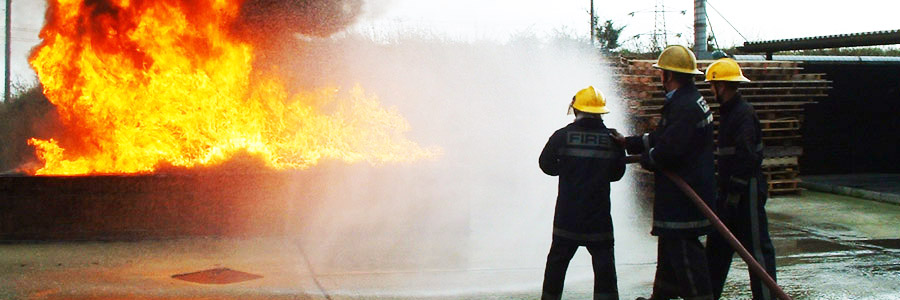 A practical fire-fighting exercise underway