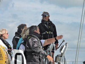 Dee Caffari onboard a yacht