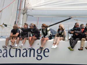 Dee Caffari on a yacht at UKSA