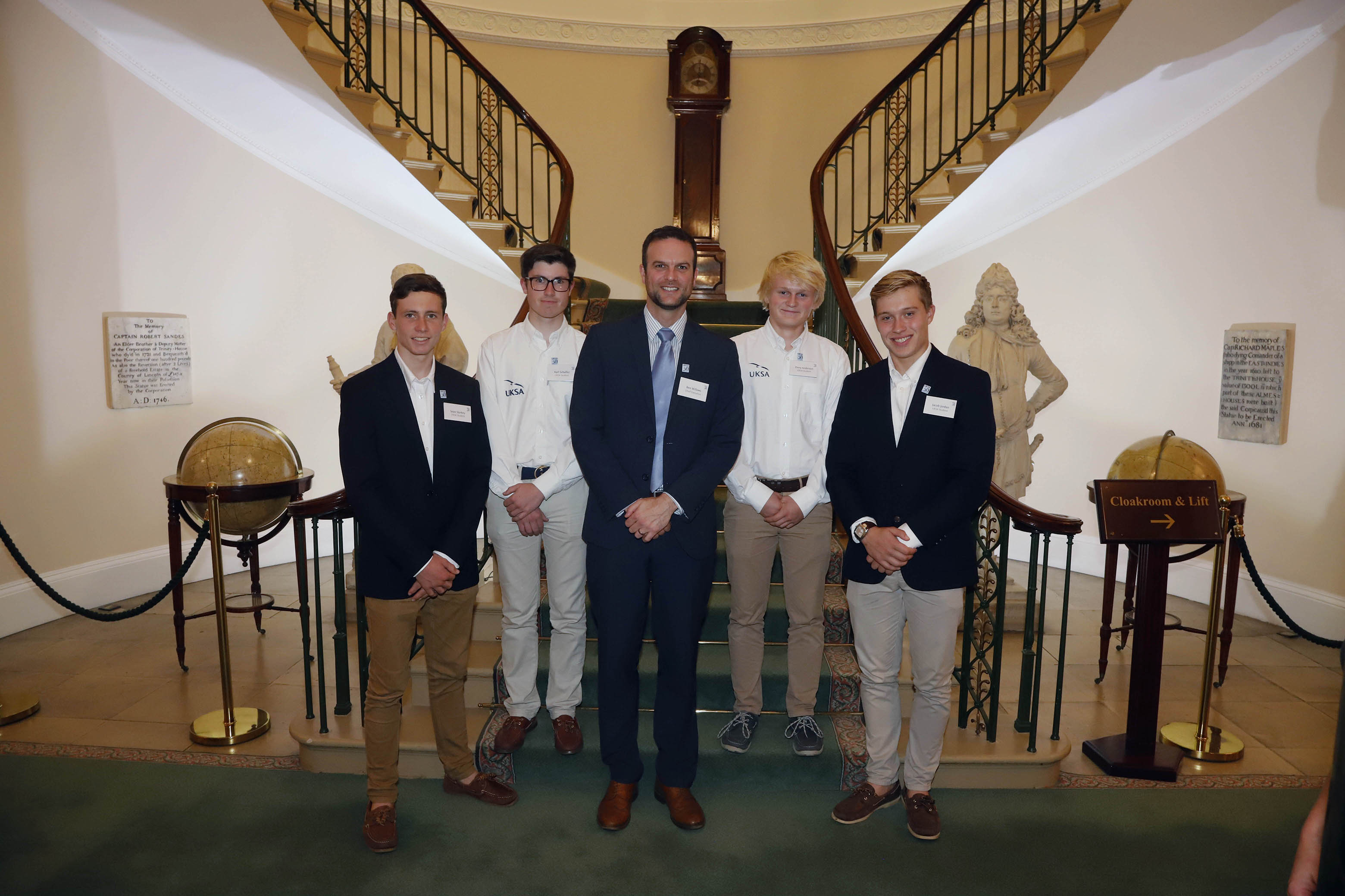 UKSA students Sean Starkey, Karl Schaffer, Perry Anderson and Jacob Jordan with CEO Ben Willows (centre) at UKSA's 30th anniversary celebration at Trinity House.