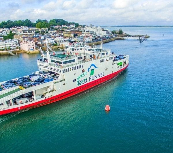 The Red Funnel Ferry infront of Cowes Harbour