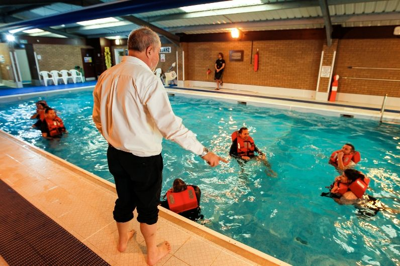 sea survival training in swimming pool