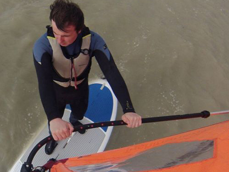 Ali Nolan Windsurfing while learning to become an instructor