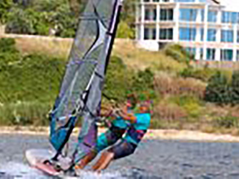Callum Blackwell windsurfering