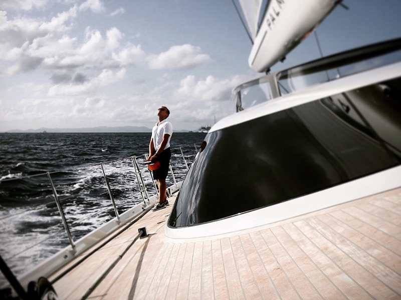 Dan Snook on a yacht