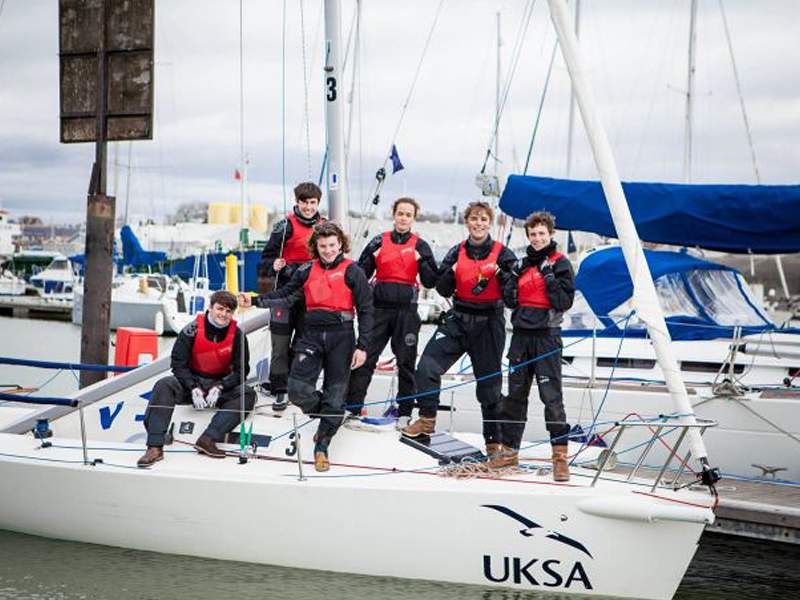 Felix Trattner with UKSA students on a Yacht