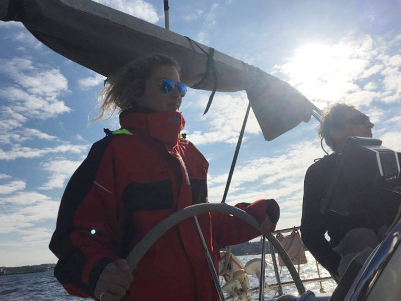 India Tayyar-Barnes onboard a yacht