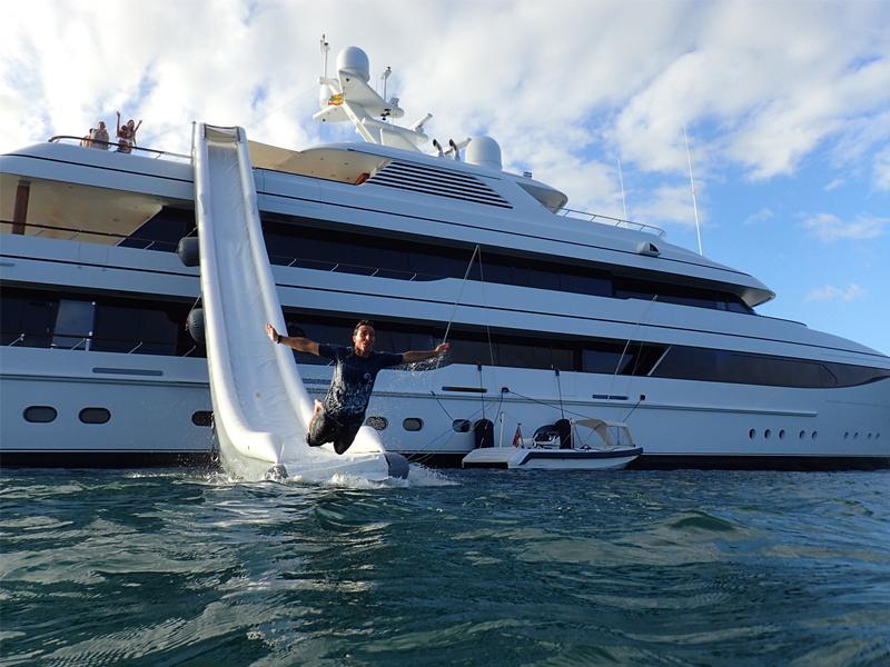 Jean Damien Barrier diving from yacht waterslide