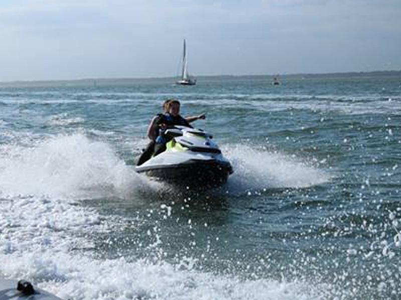 Rachel Brazier riding a jet ski