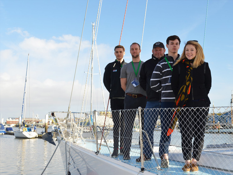 William Quennell with his yachtmaster crew at UKSA