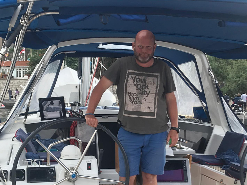 William on board his flotilla yacht for Sail Italia