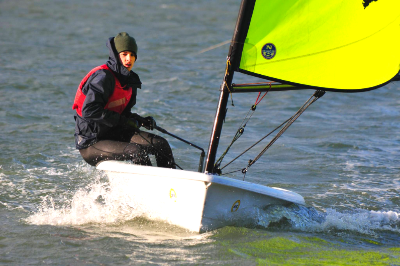 Kickstart Student in a dinghy
