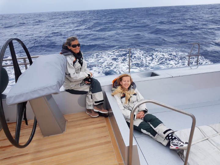 Collette Wood on-board with fellow crew