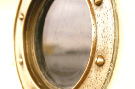 A close up of a porthole
