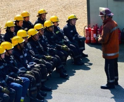 Fire Fighting students with an instructor