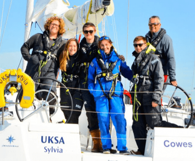 A group of yachtmaster students posing for the camera