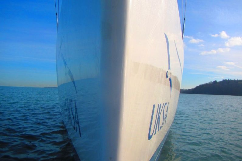 The bow of a UKSA sailing yacht