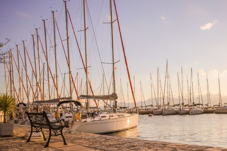 A view of yachts in a marina