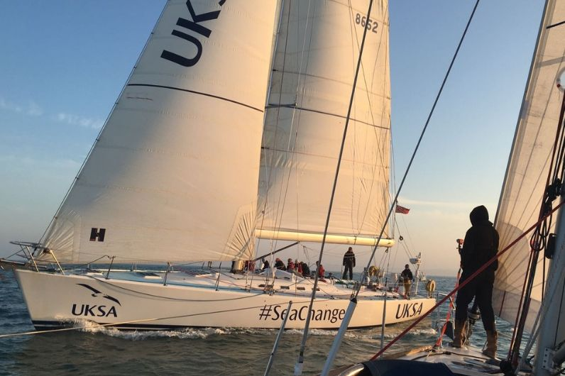 A UKSA training yacht on open water