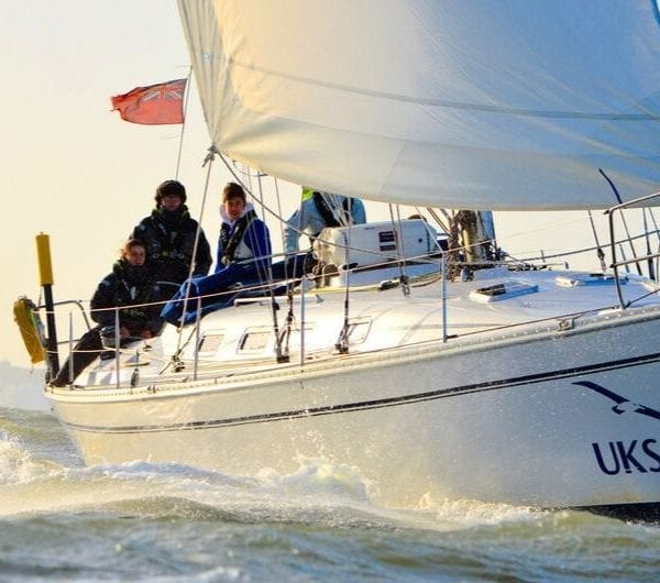 Sailing instruction underway off the Isle of Wight