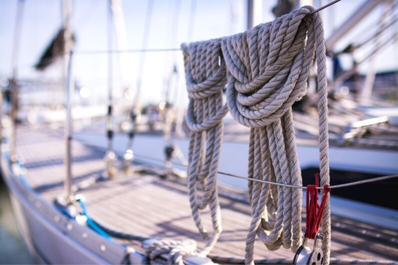 Ropes hanging on a UKSA training yacht.