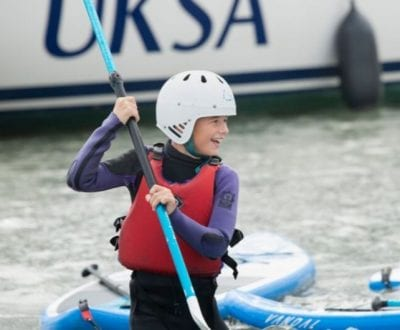 Young person on a paddleboard