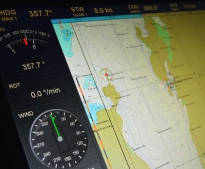 A navigation display onboard a ship
