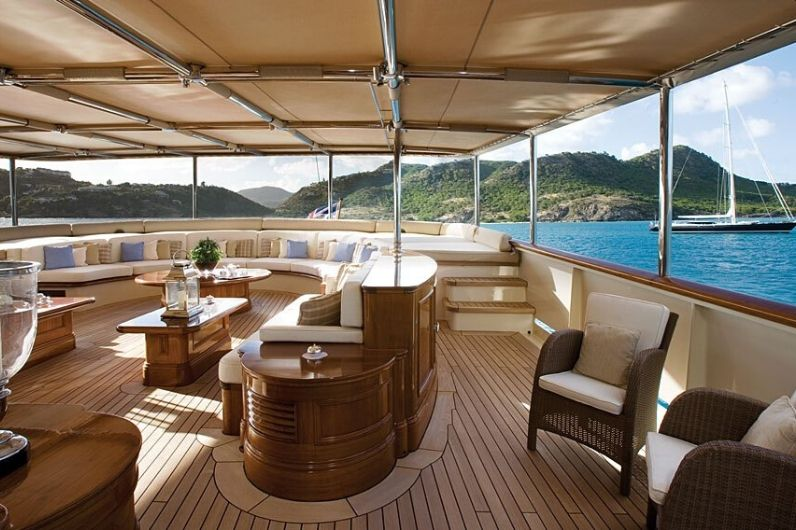 The interior view onboard a superyacht