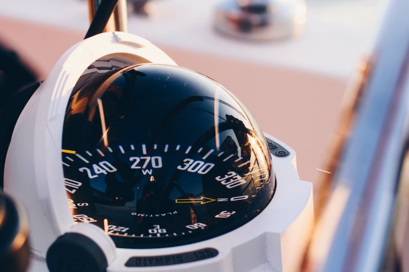 Compass onboard a yacht