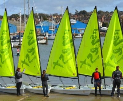 5 Zest dinghies on the UKSA slipway