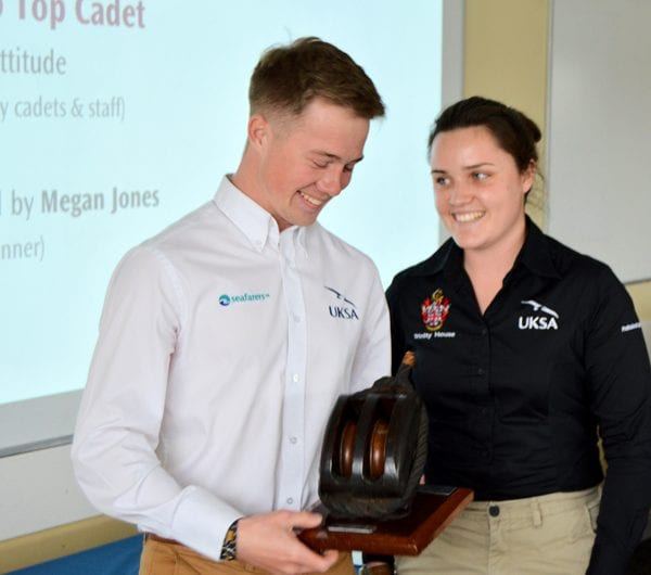 A superyacht cadetship student receiving an award