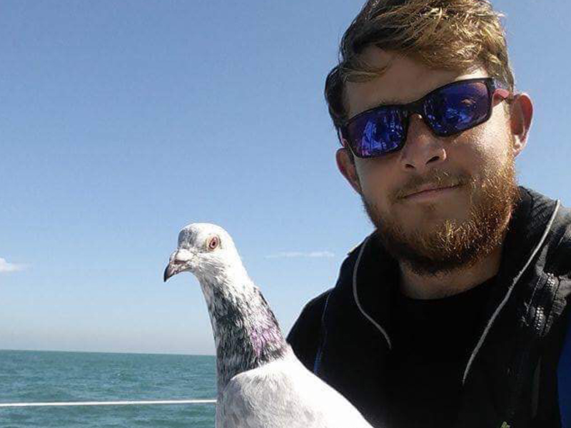 Mark-Davey with his friend the pigeon