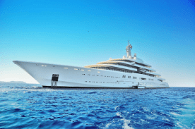 A superyacht stationary in the open water