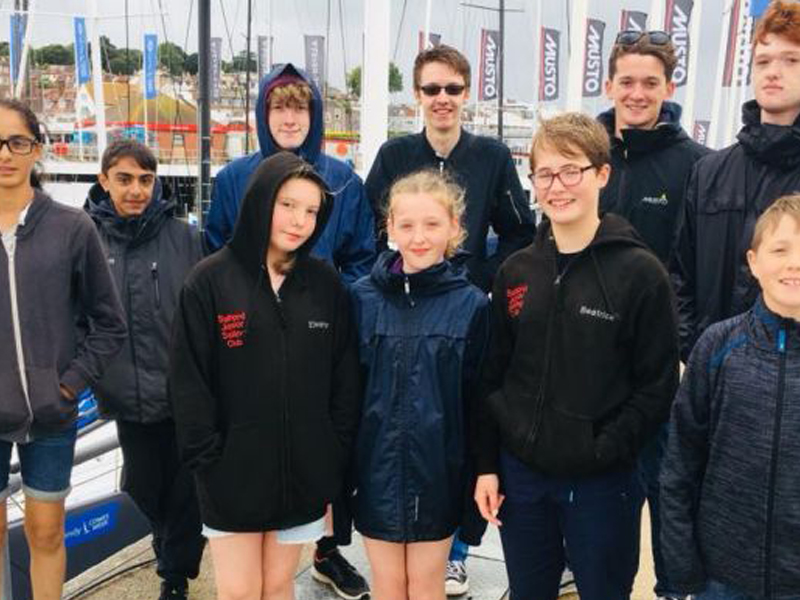 A group photo of Salford Junior Sailing Club