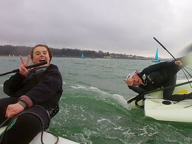 Sarah Bulman enjoying outdoor activities on the Solent whilst training in watersports