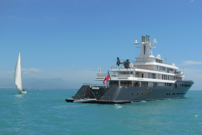 A superyacht in the open water