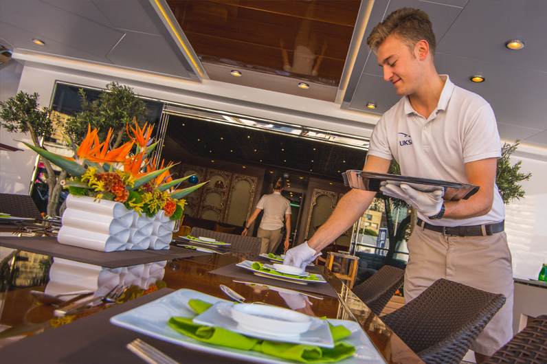 Setting table Superyacht Hospitality Training