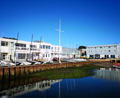 The outside of the UKSA academy at low tide