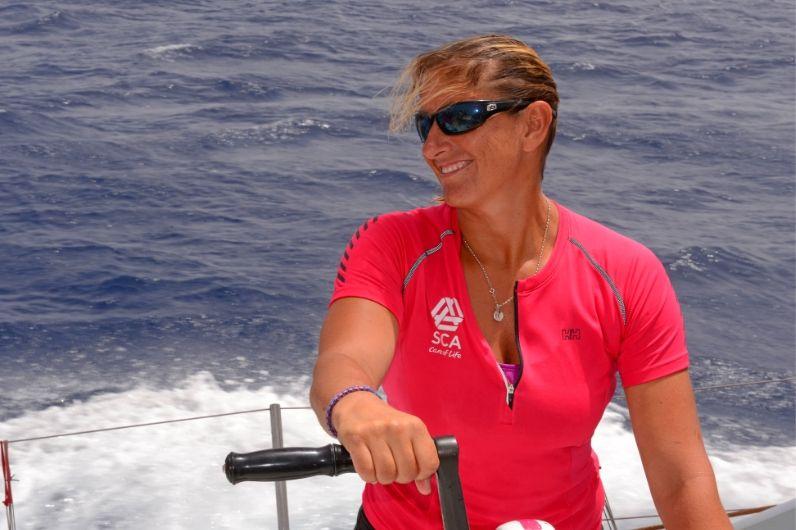 UKSA Ambassador Dee Caffari MBE on a yacht