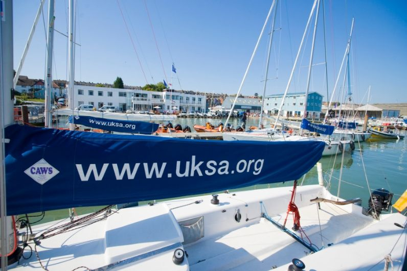 UKSA sailing yacht getting ready to set sail