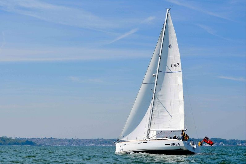A Jeaneau 449 sailing yacht in the open water