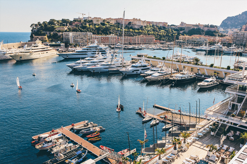 Superyachts in Monaco harbour
