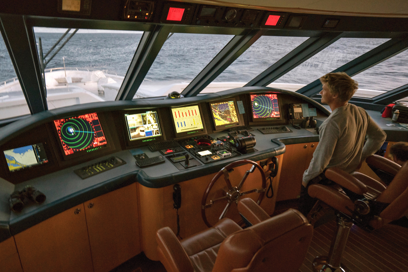 At the helm of a superyacht