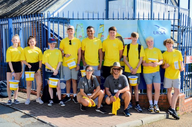 A group shot of the NCS students dressed in yellow and raising money for Earl Mountbatten Hospice