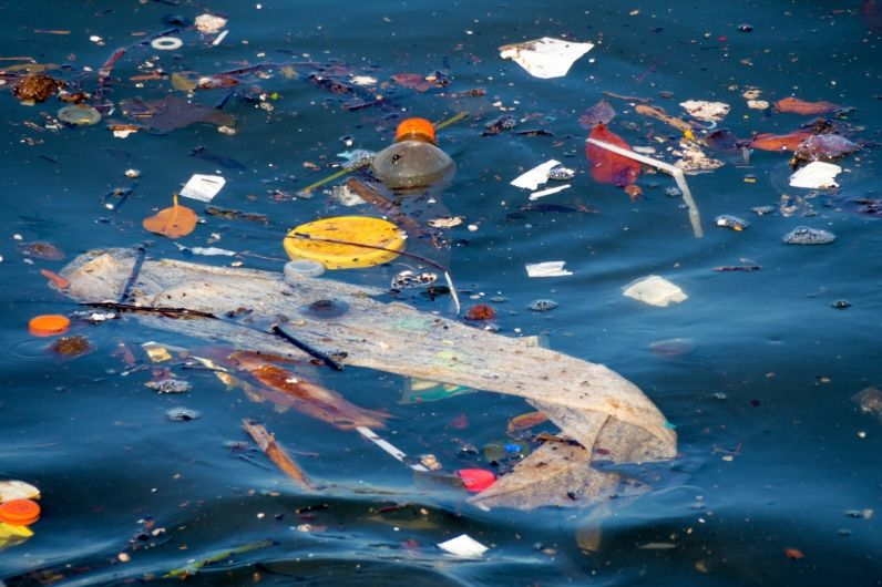 Plastic floating in the ocean