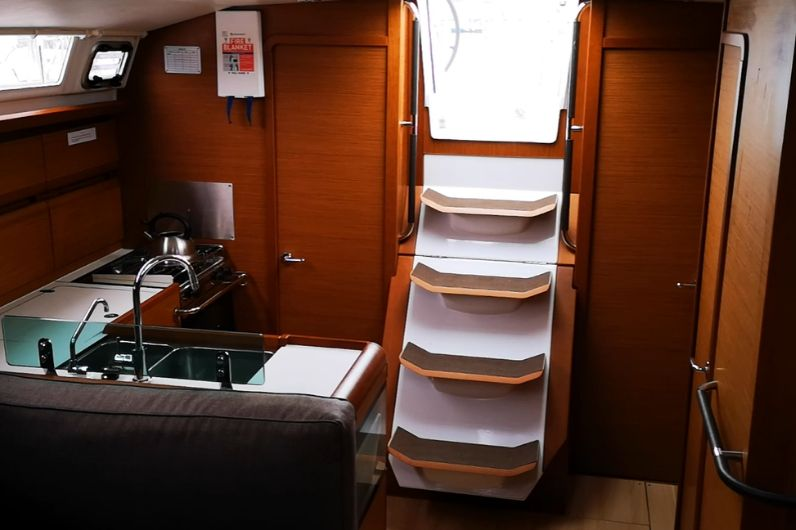Steps leading to the galley on a yacht