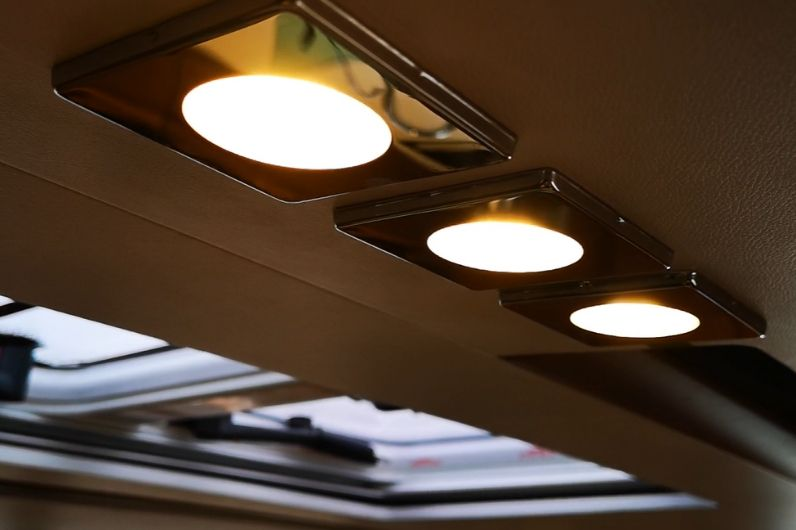 A close up of LED lighting onboard a yacht