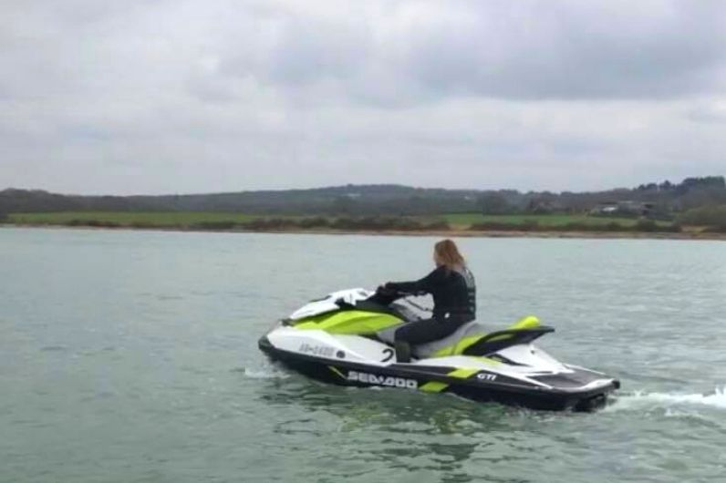 Susie Greatorex on a jet ski